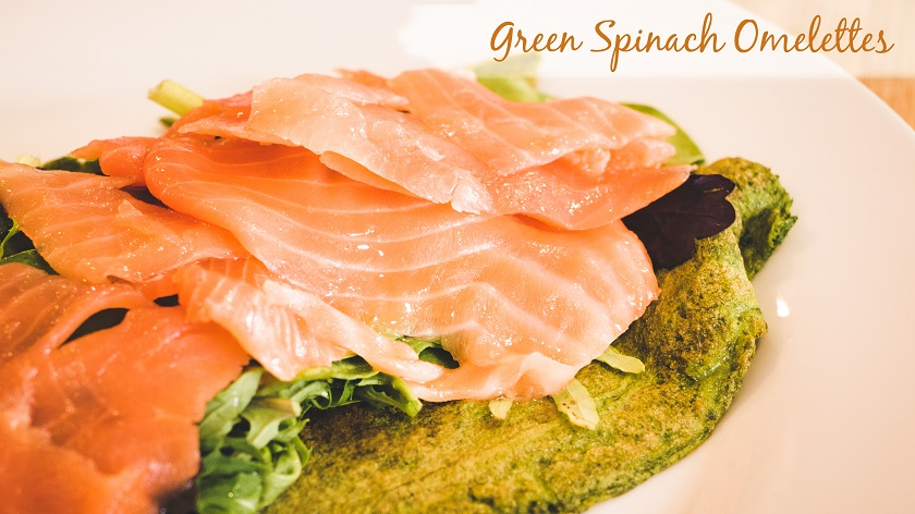 Green Spinach Omelette with Smoked Salmon Filling